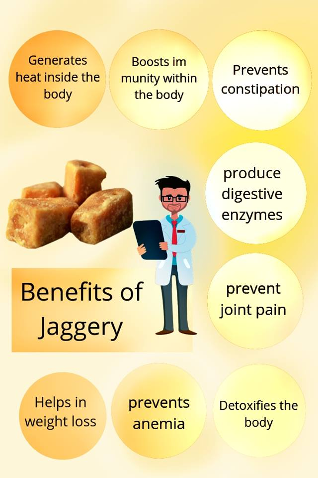 benefits of jaggery or Gur infographic